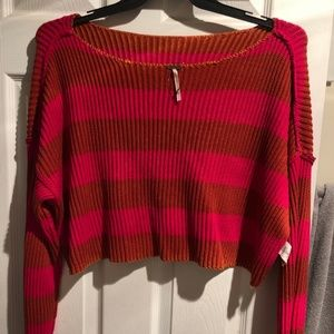 Free People Pink/Red striped sweater